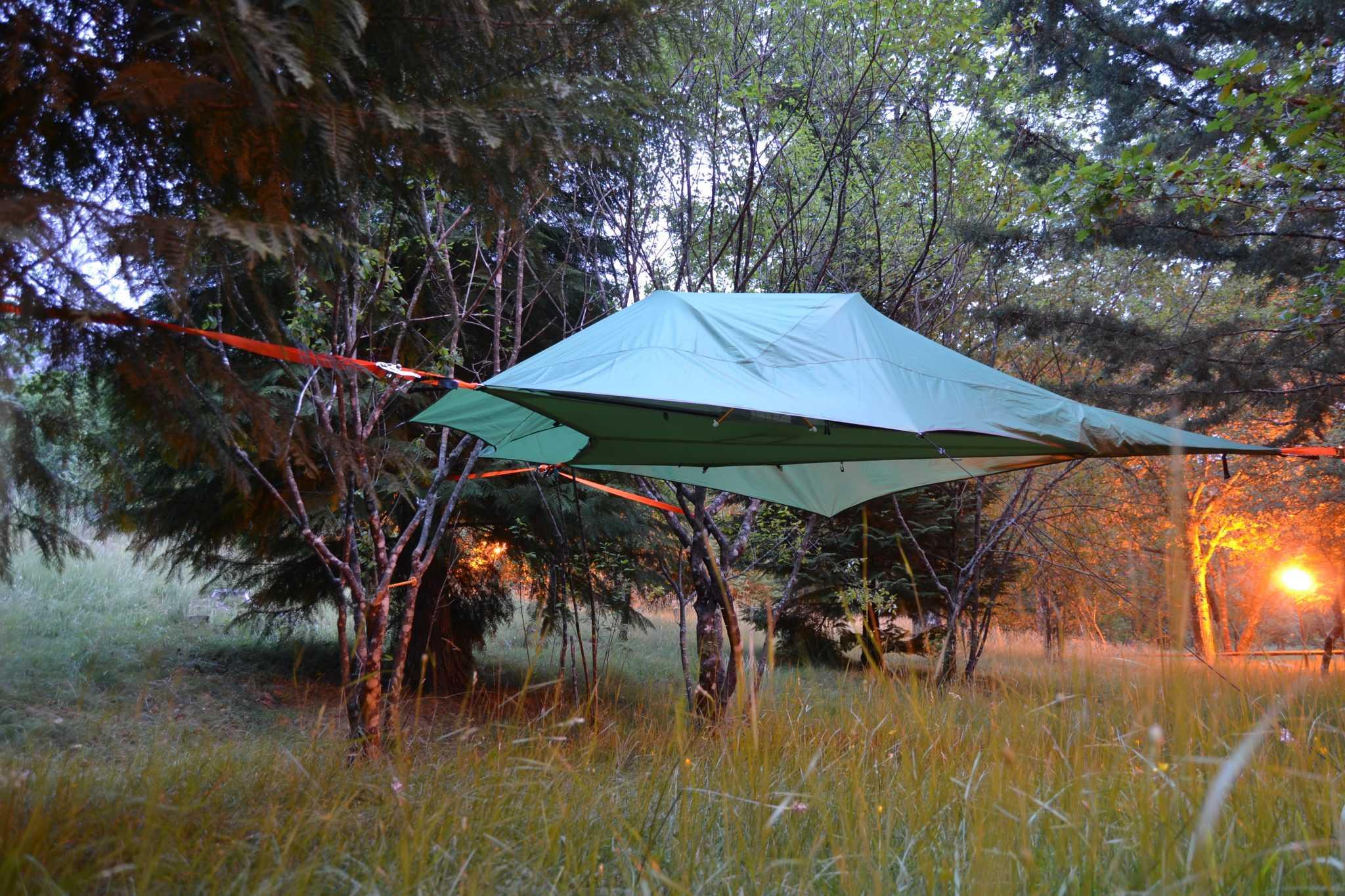 Tenda nas árvores noite