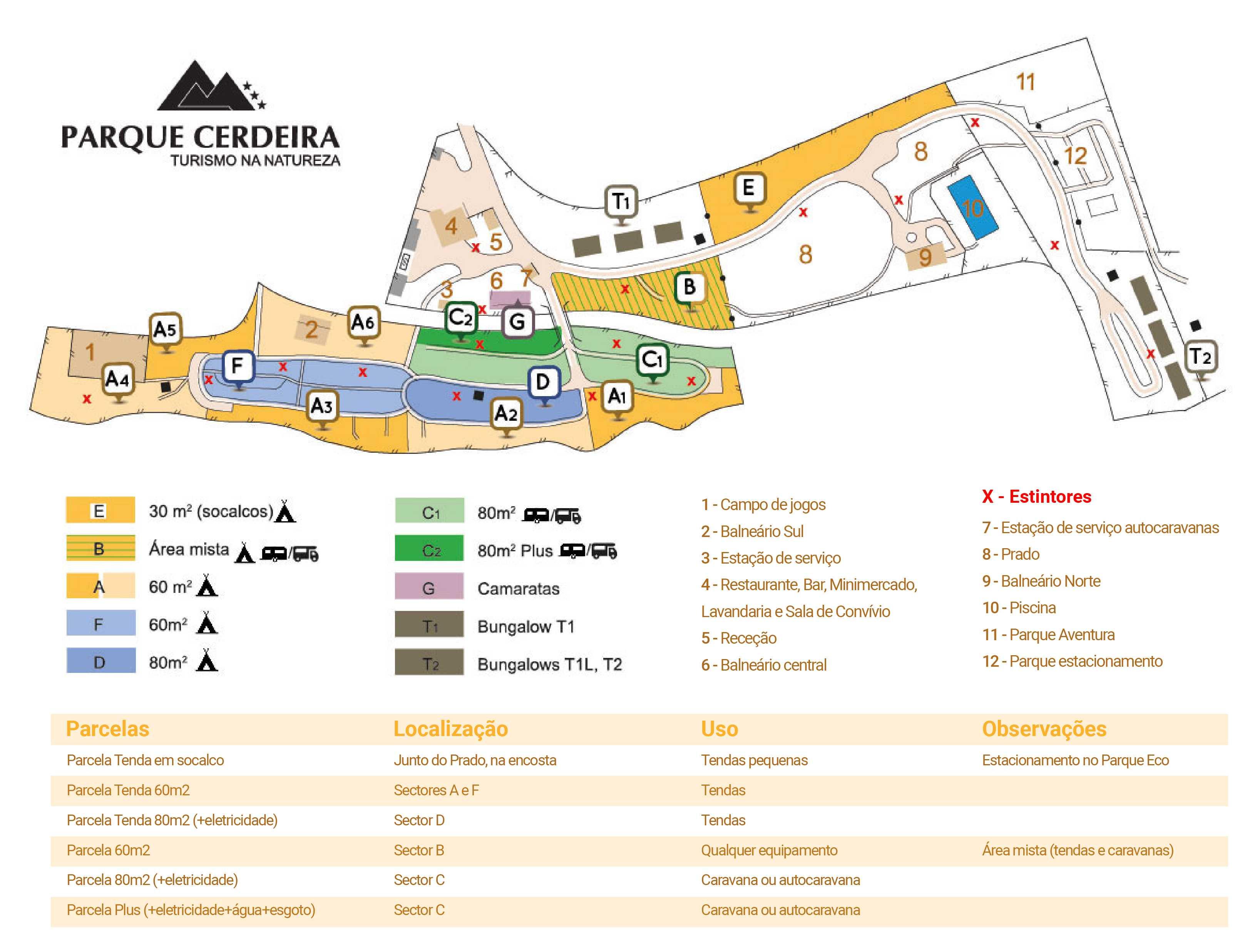 Mapa Parque cerdeira Parcelas